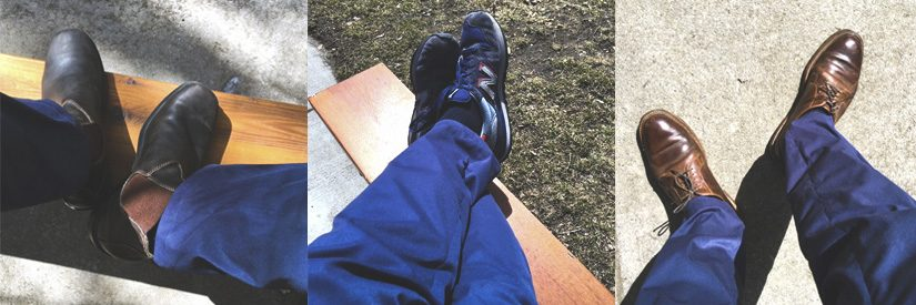 Three pictures showing the Bluffworks chinos worn with different types of shoes