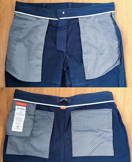 Bluffworks Tailored Chinos front and back pockets