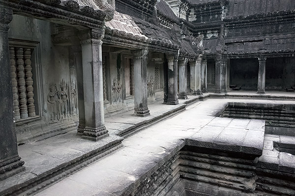 Interior shot of Angkor Wat temple in Cambodia