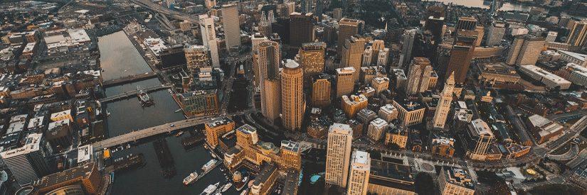 Aerial shot of Boston