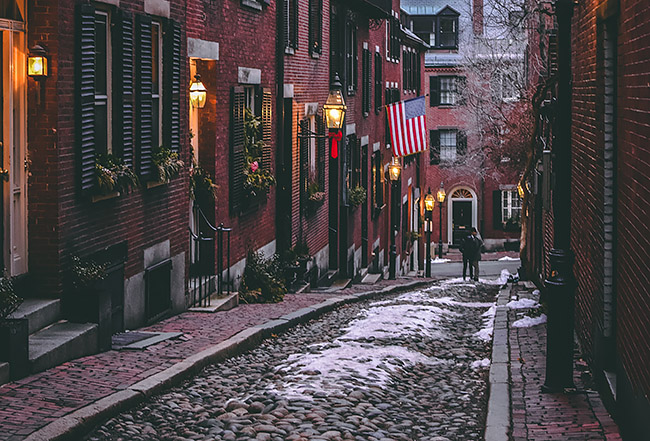 Acorn Street in Boston, Massachusetts