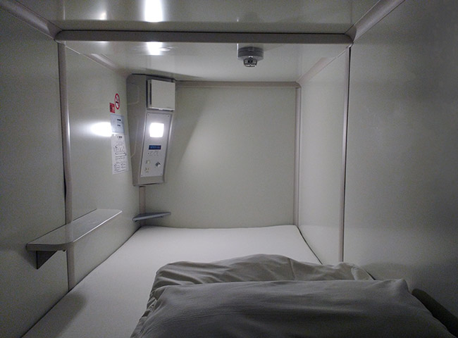 Inside a typical Japanese capsule hotel pod