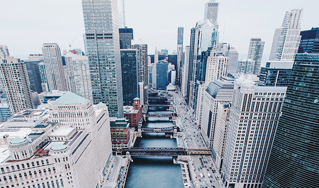 Aerial shot of Chicago river