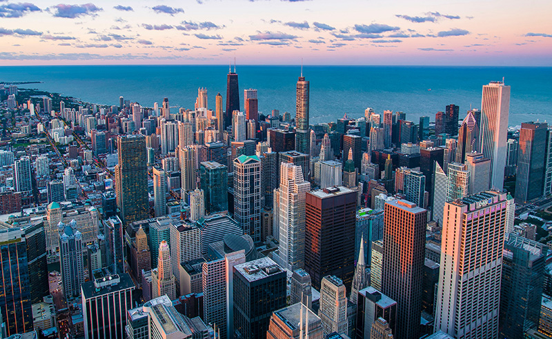 Aerial shot of Chicago from Willis Tower skydeck