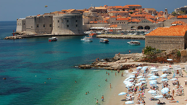 Beachgoers on a summer day in Dubrovnik, Croatia