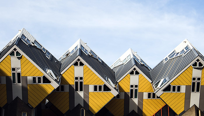 4 yellow houses in a unique architectural style in the Netherlands