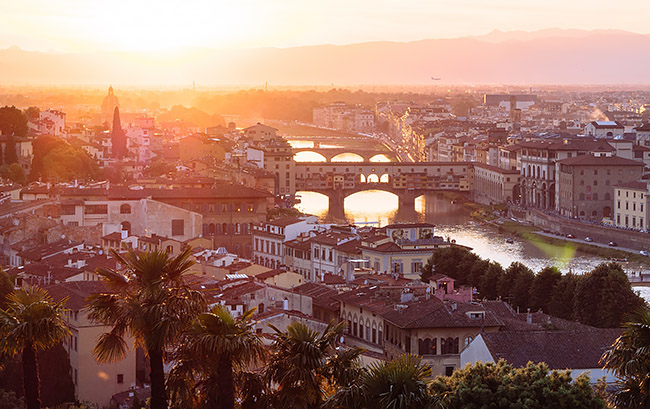 Sunset cityscape of Florence, Italy