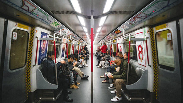 Inside a Hong Kong MTR subway carriage
