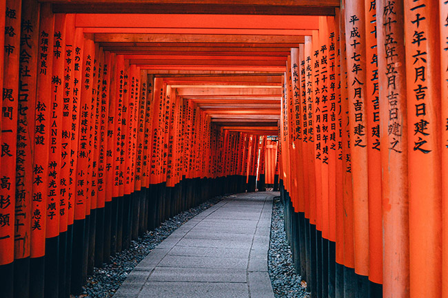 Fushimi Inari Shrine path in Kyoto, Japan