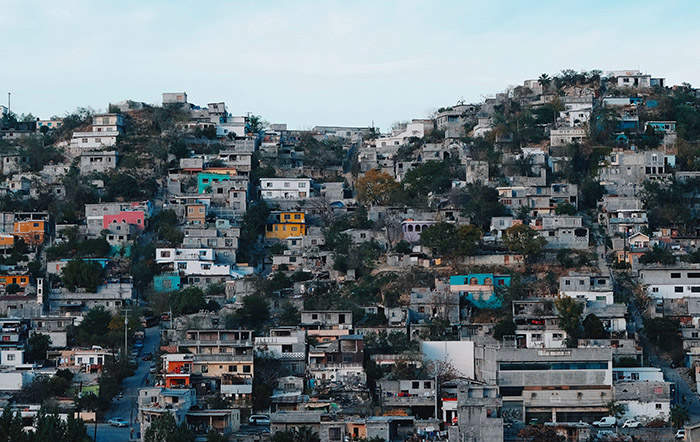 Village houses on a hill in Monterrey, Mexico