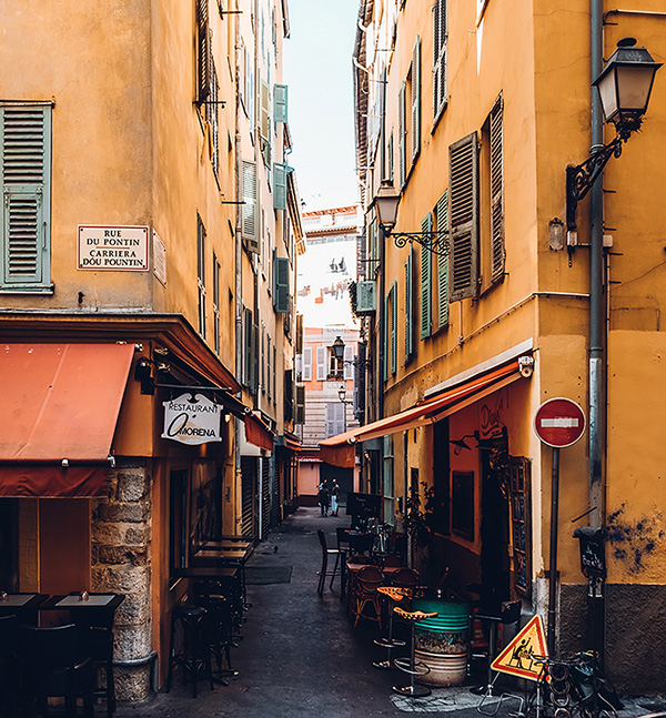 Narrow street in Old Town, Nice, France