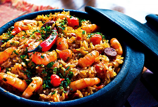 Close-up of paella dish