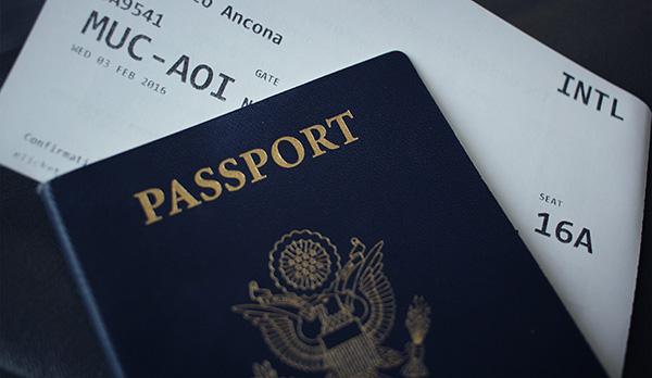US Passport on top of boarding pass
