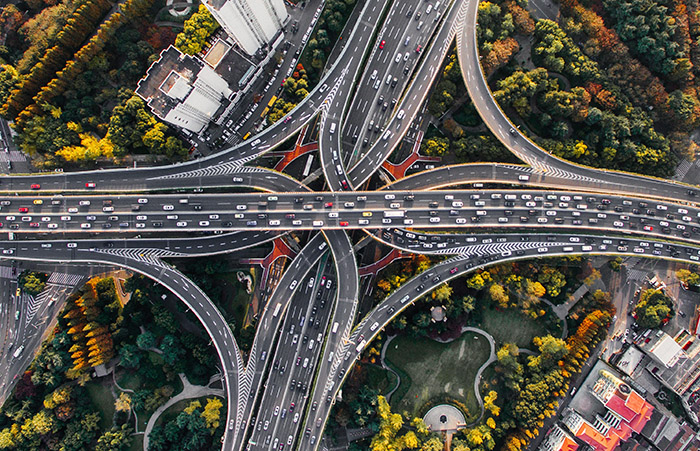 Overlapping highways in Shanghai, China (aerial shot)