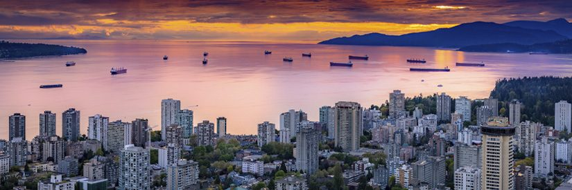 Sunset aerial shot of English Bay, Vancouver