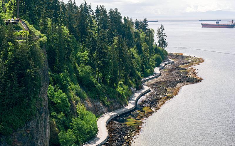 Aerial shot of Stanley park seawall, Vancouver