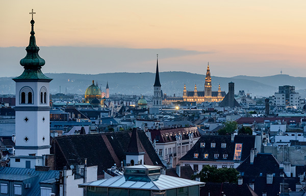 Spires and rooftops of Vienna during sunset